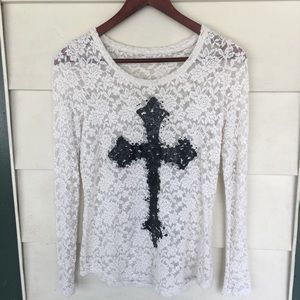 Maurices Long Sleeve Lace Shirt
